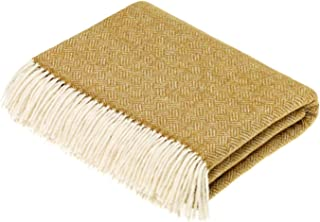 Moon Wool Throw Blanket, Merino Lambs Wool, Parquet Gold, Made in UK