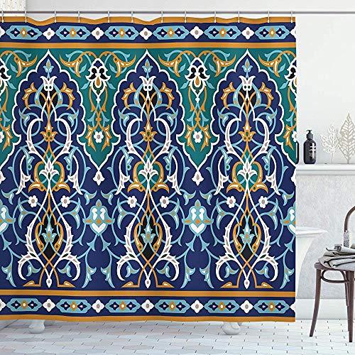 ASDAH Marokkaanse douchegordijn Oosterse bloemblaadjes Hippie Vintage Mozaïek Design Doek Stof Badkamer Decor Set met Haken Blauwe Mosterd 66 * 72in