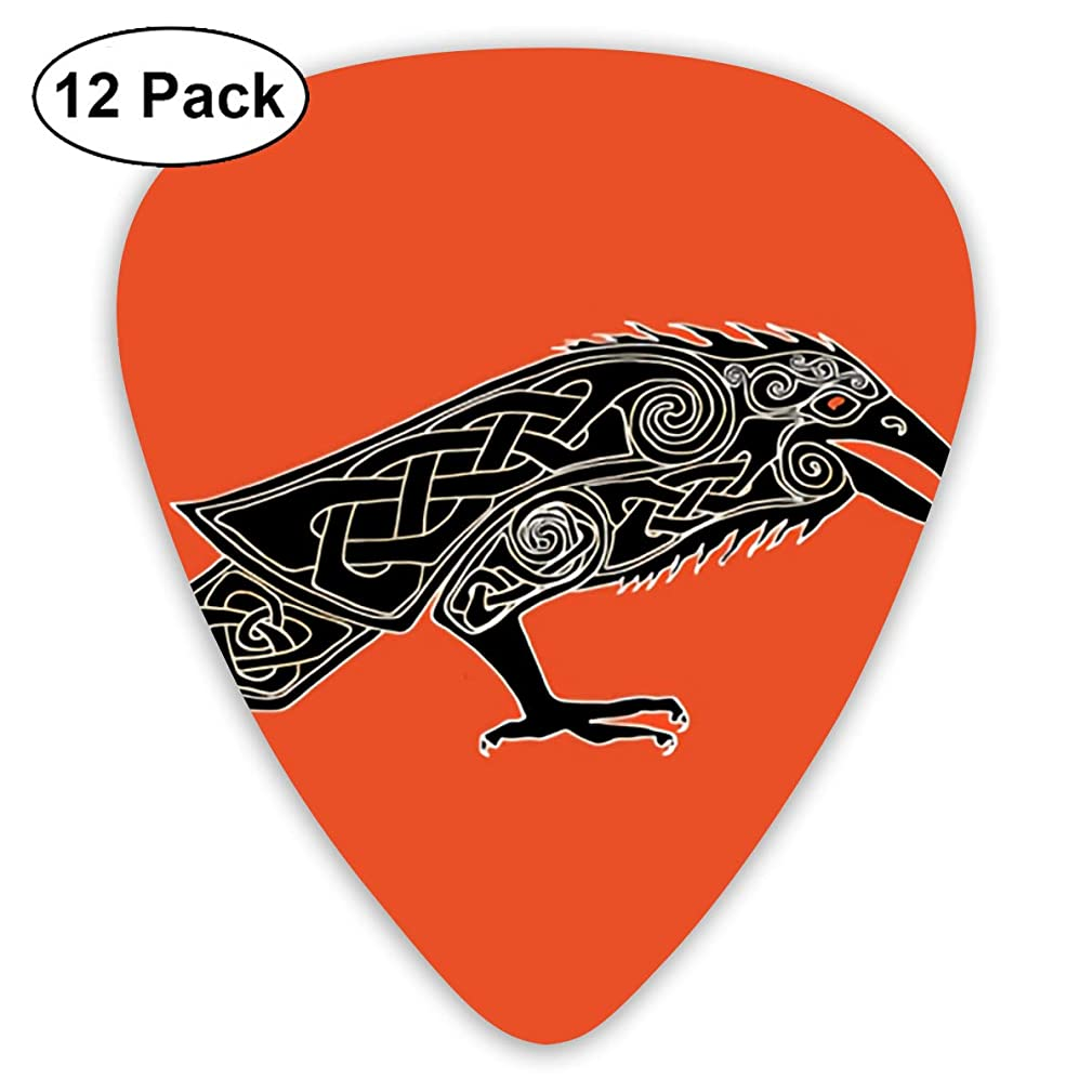 Art Crows On A Red Background Bendy Ultra Thin 0.46 Med 0.73 Thick 0.96mm 4 Pieces Each Base Prime Plastic Jazz Mandolin Bass Ukelele Guitar Pick Plectrum Display