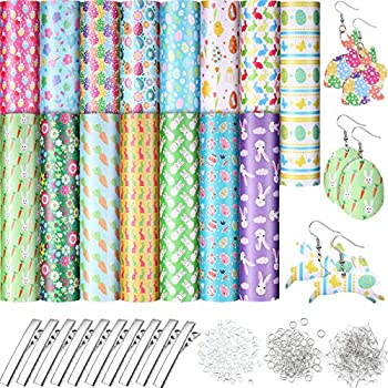 15 Sheets Halloween Easter Faux Leather Egg Bunny Pattern Leather Sheets 8.3 x 6.3 Inch Synthetic Halloween Leather Fabric with Hair Clips Hooks Jump Rings and Ear Plugs for DIY Earring Crafts Making
