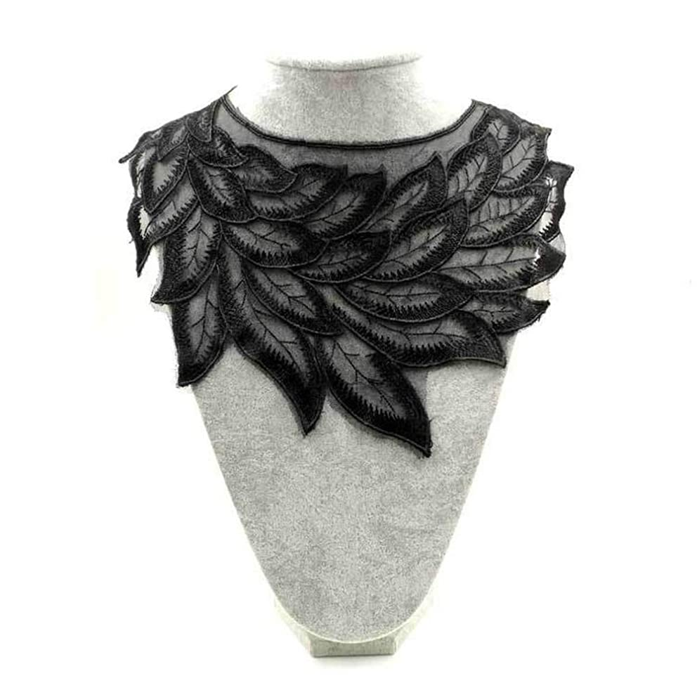 Black Embroidered Lace Trim Patches DIY Collar Lace Applique Trim Fabrics for Patchwork Sewing Supplies (Style 2)