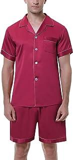Pijama Hombre Verano de Satín Pijamas Corto Hombre de Manga Corta Saten con Pantalón Dos Piezas