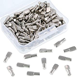 Swpeet 150Pcs 5mm Shelf Support Shelf Pins Kit, Nickel Plated Spoon Shape Cabinet Furniture Shelf Support Pegs Perfect for...