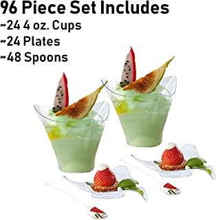 "Tiger Chef 96-Pieces Plastic Mini Dessert Clear 4oz Triangular Cups and 3.25"" Triangle Dish with Mini Spoons Set for Desserts Appetizers Small Catering Supplies, Disposable Tasting Glasses, Tumblers"