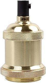 Base de lámpara Edison, casquillo de luz de aluminio vintage E27, adaptador de luz colgante industrial para interiores (dorado)