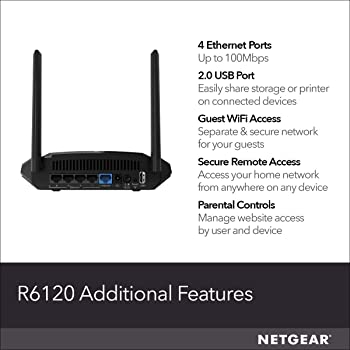 NETGEAR WiFi Router (R6120) - AC1200 Dual Band Wireless Speed (up to 1200 Mbps) | Up to 1200 sq ft Coverage & 20 Devi...