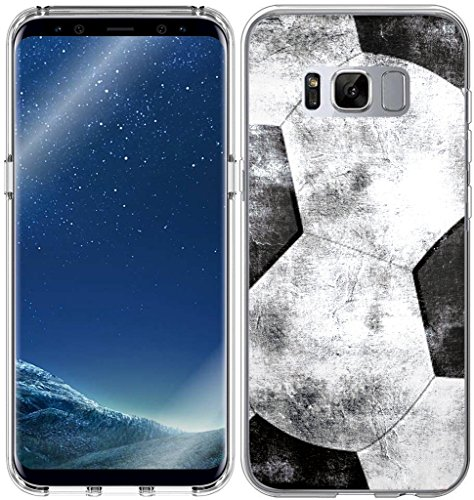 S8 Case Design/IWONE Designer TPU Non Slip Rubber Durable Protective Skin Clear Cover Compatible for Samsung Galaxy S8 + Colorful Creative Vintage Soccer Football Pattern