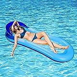GUBOOM Tumbona Hinchable, hinchables para Piscina Adultos Hamaca Flotante Piscina Tumbona Hamaca Inflable de Agua Tumbona Hinchable Piscina Playa o Piscina Juguete para Adulto y Niño (Azul)