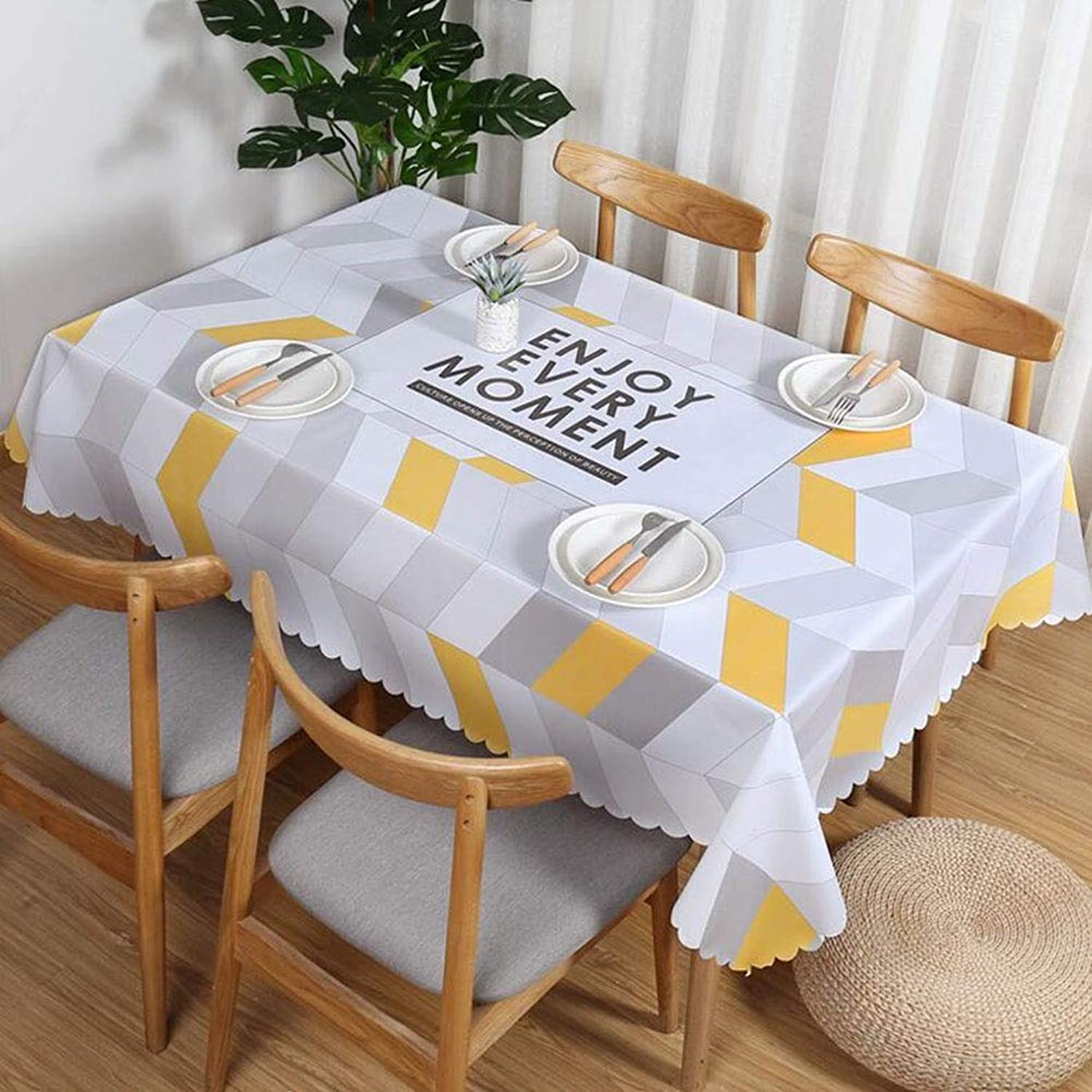 QY Tablecloth Fashion Wipe Clean PVC Rectangle Vinyl Tablecloth Oil-Proof Anti-scalding No Wash Kitchen Greasy Decoration (color   M White, Size   110  160cm)