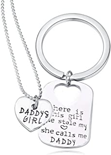 Daddy's girl Stainless Steel Heart Pendant Necklace & Keychain - Father Daughter Set - Best Family Gift