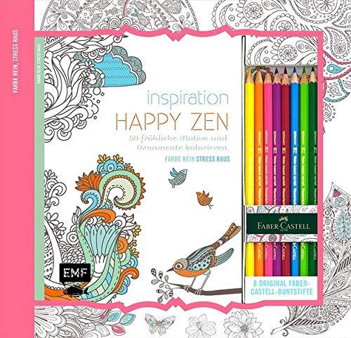 Kreativ-Set Farbe rein, Stress raus: Inspiration Happy Zen: 50 fröhliche Motive und Ornamente kolorieren: Buch mit 64 Seiten und 8 Faber-Castell-Buntstiften (Buch plus Material)