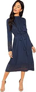 Women's Pleated Ruffle Trim Tie Waist Lace Trim Midi Dress