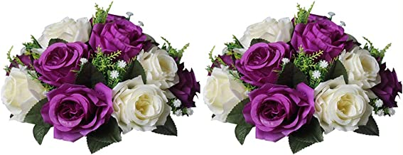 Nuptio Pcs of 2 Fake Flower Ball Arrangement Bouquet,15 Heads Plastic Roses with Base, Suitable for Our Store's Wedding Centerpiece Flower Rack for Parties Valentine's Day Home Décor (Purple & White)