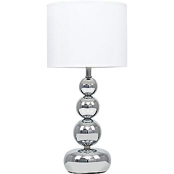 MiniSun Lampe de Table, Chevet, Bureau. Variateur TouchTactile Intégrée. Design Moderne. Eclairage sur 4 Intensités. Chrome Poli et Textile Blanc