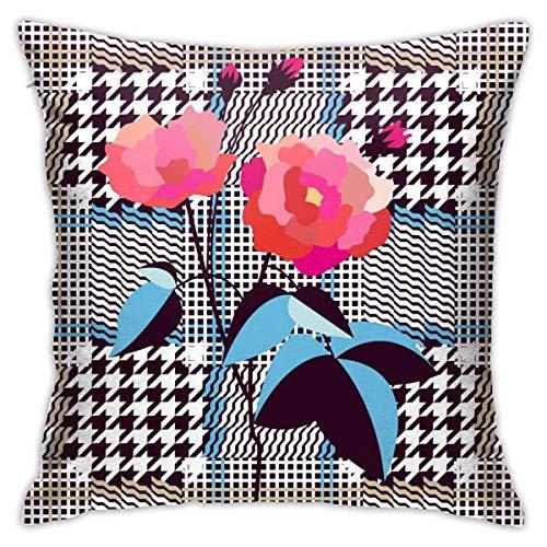 AEMAPE Elegante patrón de Tela Inglesa a Cuadros Funda de Almohada Funda de cojín Cuadrado sofá casero Decorativo 40X40 Cm