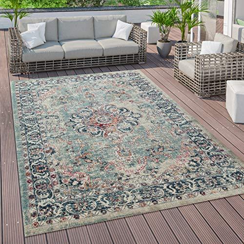 Paco Home Outdoor Teppich Küchenteppich Balkon Terrasse Vintage Orient Muster Rot Blau Beige, Grösse:200x280 cm
