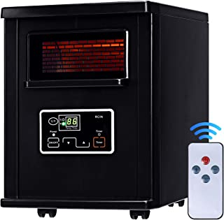 """Giantex Infrared Space Heater, 1500W Portable Quartz Mini Electric Heater with Digital Thermostat, Remote Control, Timer & Filter (Black, 11""""x14""""x15.2"""")"""