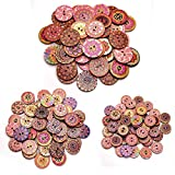 TUT 150pcs Bottoni Rotondi Vintage in Legno, Bottoni in Legno a Due Occhi Dipinti e Stampati, Colori Misti Fai-da-Te e Bottoni Decorativi Fatti a Mano 15mm/20mm/25mm