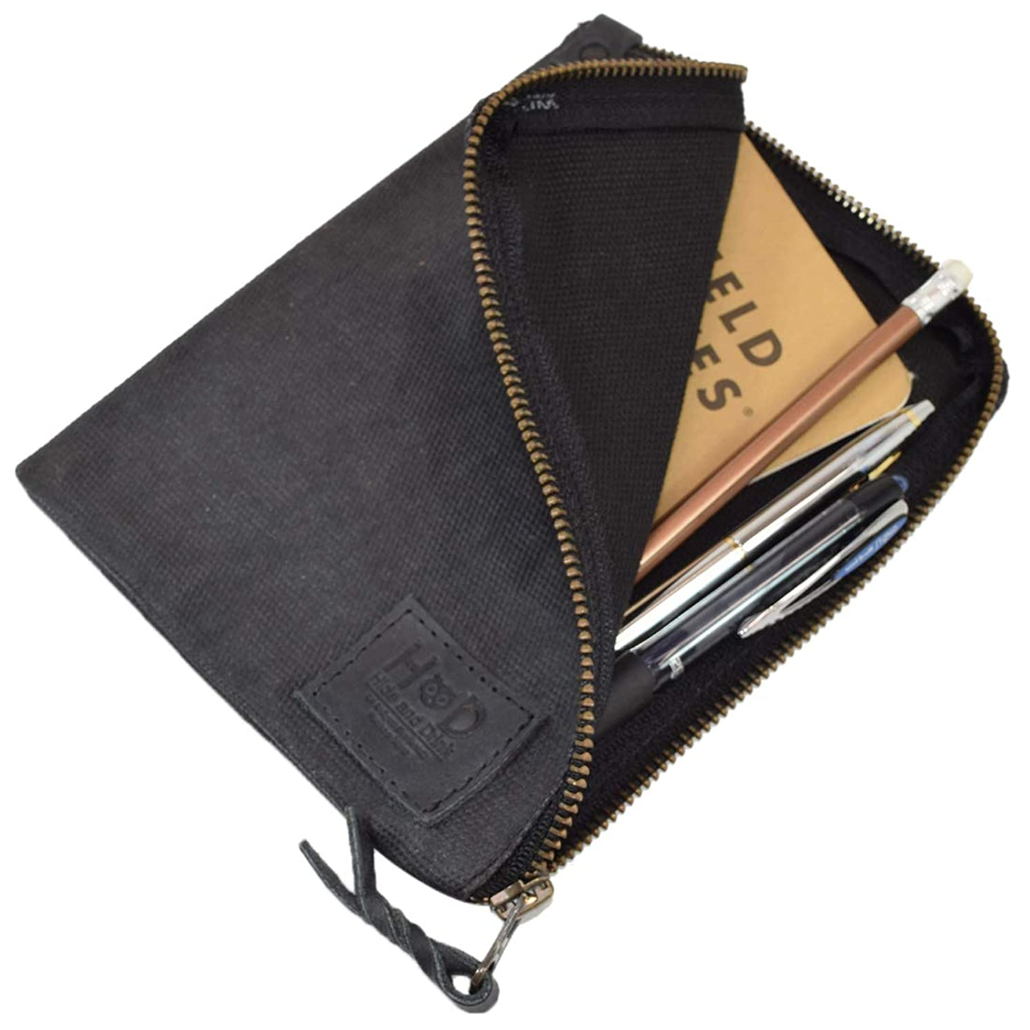 Hide & Drink, Waxed Canvas Durable Scribbler Case for Notebook/Pens, Office & Work Essentials Handmade :: Charcoal Black