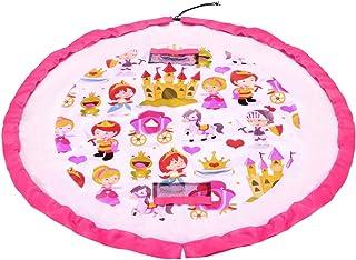 Kids 2-in-1 Play Mat and Toy Storage Bag Playmat Indoor Outdoor Floor Activity Organiser Mat - Pink