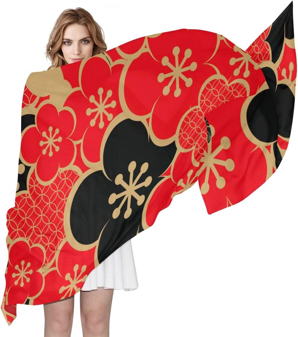 AUUXVA Fashion Scarf Japan Floral Cherry Blossom Pattern Long Lightweight Sunscreen Scarf Shawl Wrap Muffler Neckerchief for Women Men