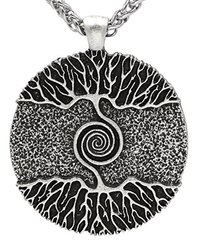 Wikinger Mittelalter Baum des Lebens nordischen Anhänger Halskette Antik Silber