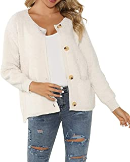 Xiaoa Women Fall Long Sleeve Warm Cover Up Cardigans Pullover Blouses Knitted Button Coats Outwear Sweaters