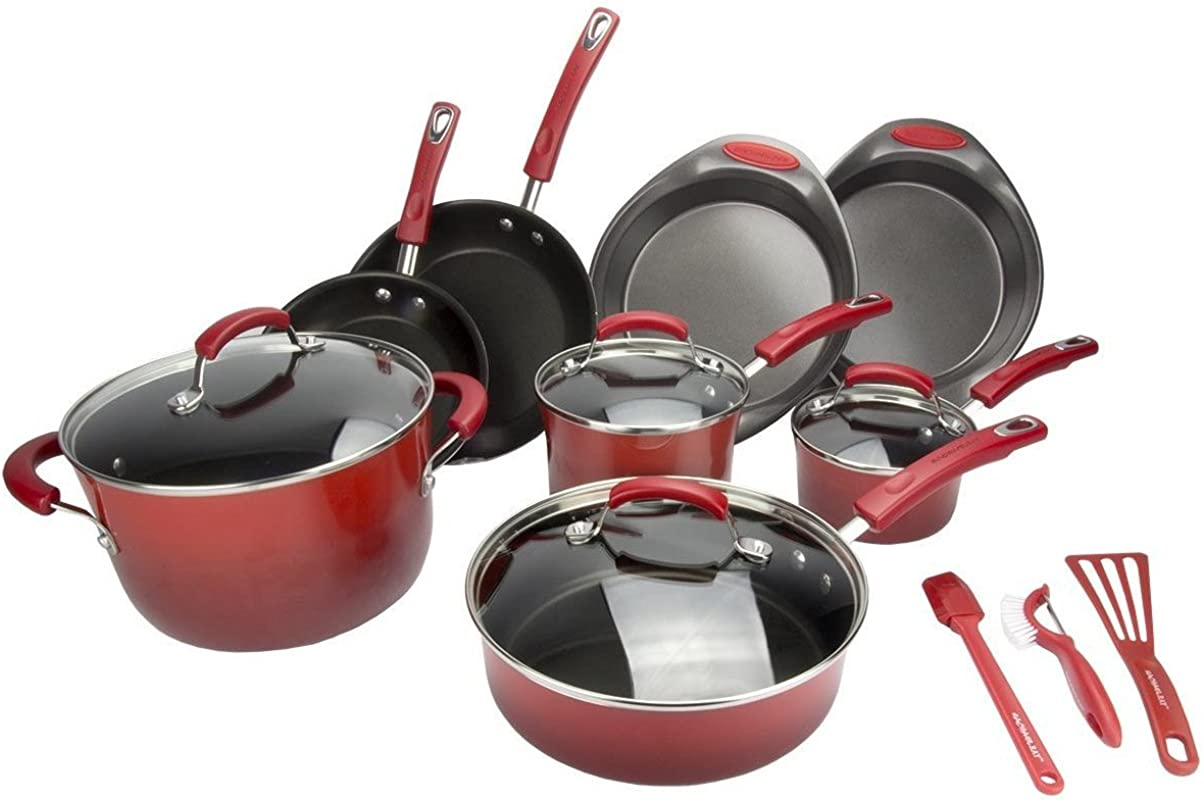 Rachael Ray Porcelain II 15 Piece Red Cookware Set