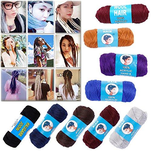 Price comparison product image Brazilian Wool Hair 3 Rolls -100% Acrylic Hand & Machine Knitting Yarn for African Hair Braiding Sengalese Twisting Jumbo Braids / Crochet Faux Locs / Wraps / Dreadlocks (Black)