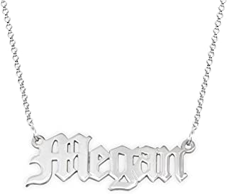 Personalized Old English Font Name Necklace -Custom Pendant Nameplate Jewelry