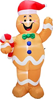 Poptrend Inflatable Christmas Decorations 5 foot Inflatable Gingerbread Man – Christmas & Xmas Yard Inflatables with Bright Internal LED Christmas Lights –Wacky, Funny, Colorful,Festive Holiday Spirit