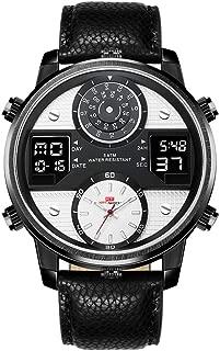 Men Watches Business Waterproof Chronograph Fashion Wrist Watch Sport Analogue Quartz Leather Strap Multifuctional Digital Backlight Calendar