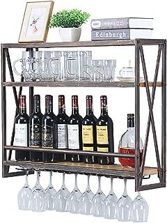 Industrial Wine Racks Wall Mounted with 8 Stem Glass Holder,31.5in Rustic Metal Hanging Wine Holder Wine Accessories,3-Tie...