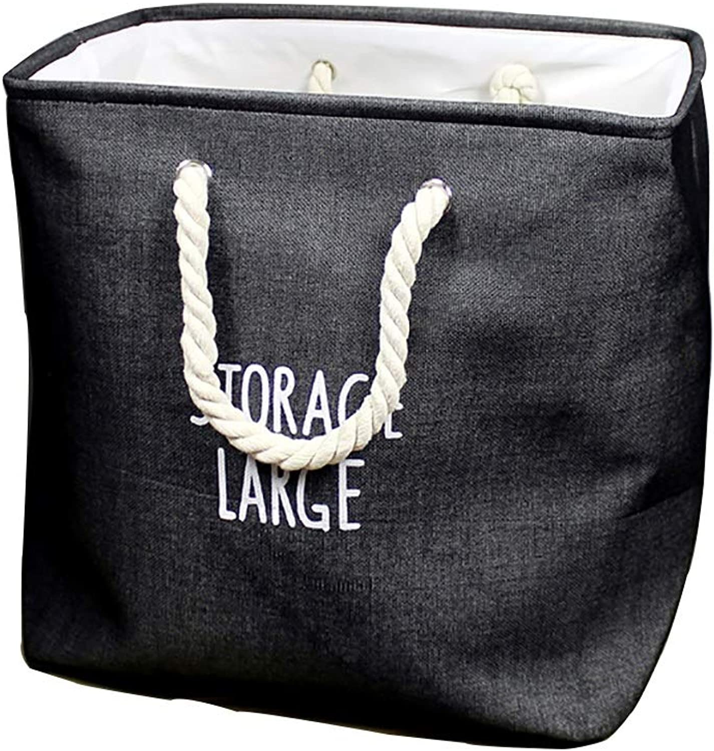 FANGFA Storage Baskets Cotton and Linen Cloth Bedroom Clothes Toy Storage Bucket Foldable (4 colors are Optional) (Size   35  25  40cm-Black)