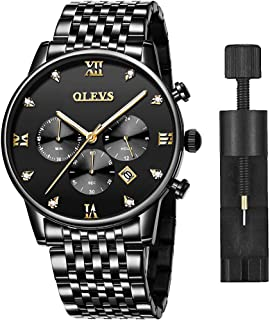 Amazon Watch,Men's Watches,Men's Chronograph Luminous Quartz Watch,Mens Dress Watch for Men with Date Calendar,Mens Rose Gold Watch with Big Face,Brown/BlackLeather,Stainless Steel …