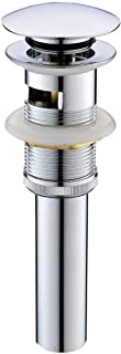 Pop Up Drain Stoper with Overflow Brass Bathroom Vanity Sink Drain Lavatory Basin Sink Drain Chrome Finished