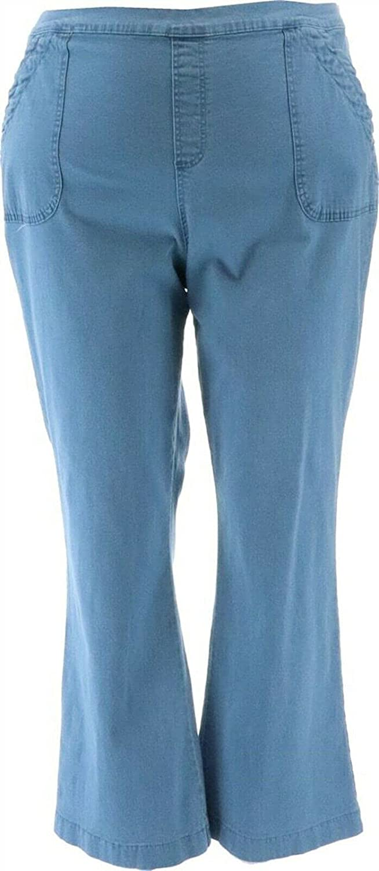 Denim& Co Pull-On Bootcut Pants Porkchop Pockets A370121