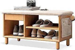 QDY Nordic ławka do przechowywania stołek na buty z litego drewna z miękką poduszką półka do przechowywania do przedpokoj...