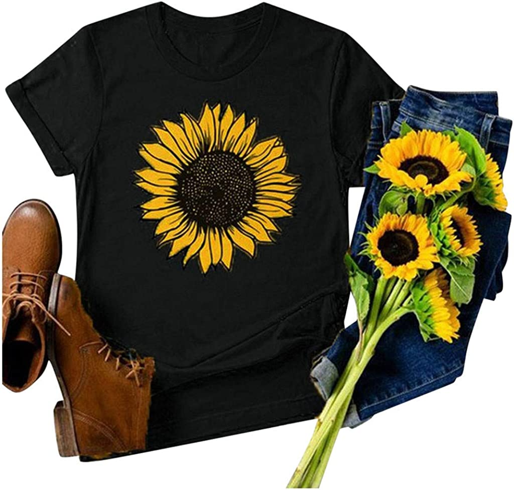 Jaqqra Summer Tops for Women, Womens O Neck Sunflower Print T-Shirts Short Sleeve Casual Loose Blouse Tunic Tee Top