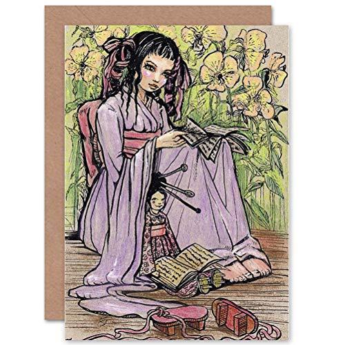 Verjaardagskaart, motief Wee Blue Coo Paining, portret, Japanse vrouw en kimono, blanco
