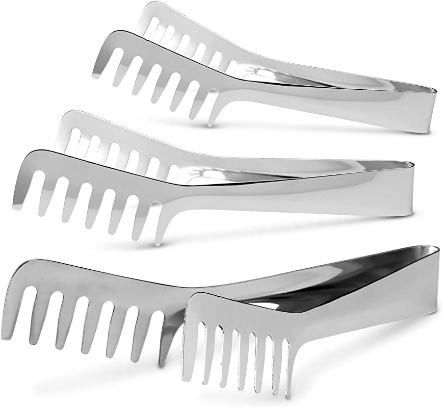 Stainless Steel Tongs By KooK Set Of 3 Spaghetti