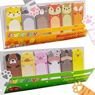 3 Sheets Cute Animal Sticky Notes Farm Animal Woodland Animal Page Flags Paw Prints Index Tabs for Animal Lovers Kids Offi...