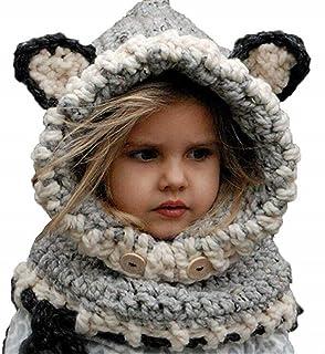 BAIMORE Winter Kids Crochet Cartoon Fox with Scarf Pocket Hooded Set Knitting