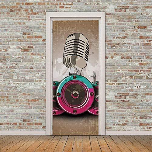 Etiqueta de la puerta Patrón de micrófono Pegatinas de puerta autoadhesivas a prueba de agua Papel tapiz Sala de estar Dormitorio Papel tapiz de pared90cm(W)*200cm(H)