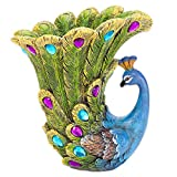 Bits and Pieces - Peacock Vase - Polyresin Sculpted Vase