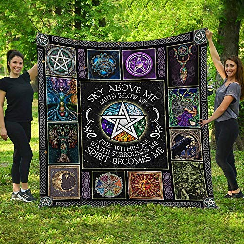 Wicca - Pagan Quilt THH976, Queen All-Season Quilts Comforters with Reversible Cotton King/Queen/Twin Size - Best Decorative Quilts-Unique Quilted for Gifts