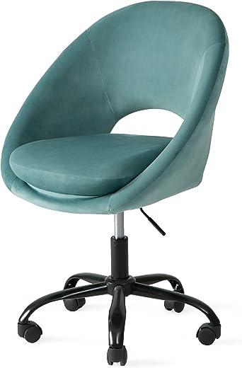Bürostuhl mit Rollen Drehstuhl ohne Armlehne Verstellbar Hydraulische Schreibtisch Bürohocker mit Rücken für Büro Rezeptionen Lernzimmer oder…