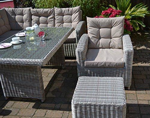 "Ecklounge Manhattan (Ecksofa ""links"" + Tisch + Sessel + Hocker) großes Rattan Gartensofa Lounge Polyrattan sand grau natur für 6-8 Personen - 6"