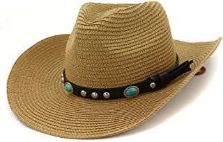 PengCheng Pang 2019 Western Women's Outdoor Beach Hat Sunscreen Visor Hat Skull Fedora Hat Turquoise Straw Hat (Color : Dark Khaki, Size : 56-58CM)