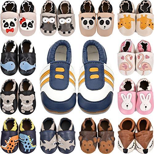 BAOLESEM  Weiche Leder Krabbelschuhe Babyschuhe Lauflernschuhe mit Wildledersohlen für Jungen und Mädchen, 6-12 Monate, Gelb Blau Sneaker